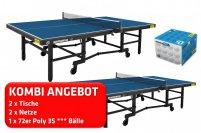 2er Kombi andro Magnum-SC blau + 2x Netz Niveau + 72er speedball 3S