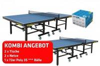 2er Kombi andro Roller blau + 2x Netz Niveau sw. + 72er speedball 3S